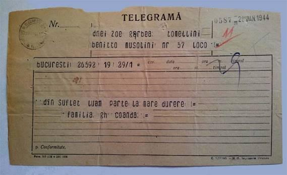 TELEGRAMĂ - FAMILIA COANDĂ
