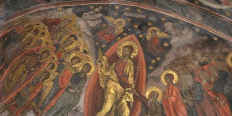 (Isus deschide cerul la Mănăstirea Cozia printr-o vesica piscis. Foto Radu Gaciu.)