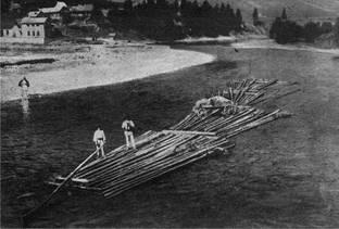 Căruţă transportată cu pluta la iarmarocul din Piatra Neamţ, fotografie realizată în vara anului 1928
