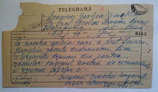 TELEGRAMA - PRIMARUL ORAŞULUI TÂRGOVIŞTE – LAZĂR PETRESCU 29. I. 1944