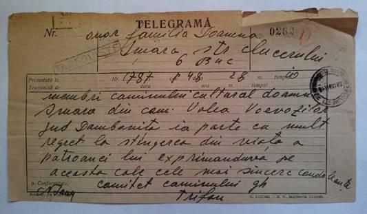 TELEGRAMĂ - COMITETUL CĂMINULUI CULTURAL VALEA VOIEVOZILOR JUDEŢUL DÂMBOVIŢA GHEORGHE TRIFAN