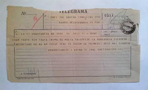 TELEGRAMĂ -  ADINA ŞI GENERAL CRETZULESCU