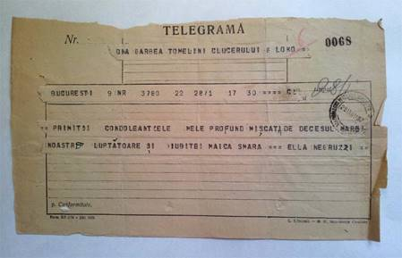 TELEGRAMĂ -  ELLA NEGRUZZI