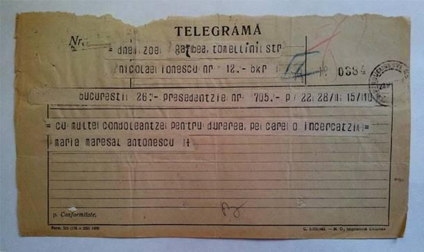 TELEGRAMĂ -  MARIA MAREŞAL ANTONESCU