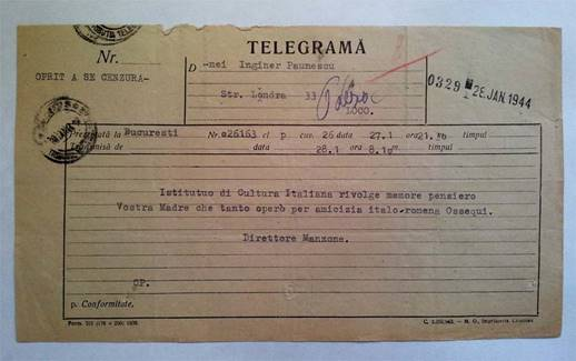 TELEGRAMĂ - INSTITUTO DI CULTURA ITALIANA