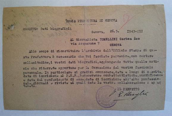 TELEGRAMĂ -  ASOCIAŢIA  PRESEI  ITALIENE DIN GENOVA